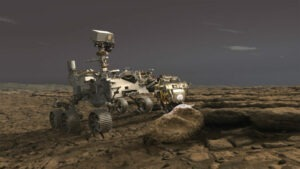 Ilustrație digitală cu Perseverance pe Marte sursa NASA