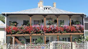 Balconul cu flori al unei case din satul mănăstiresc Văratec - Economedia