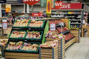 Comert, alimente, piata, supermarket, rafturii