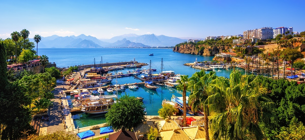 Panoramic,View,Of,Antalya,Old,Town,Port,,Taurus,Mountains,And